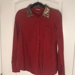 Merona Red Plaid Gold Sequin Collar Blouse S